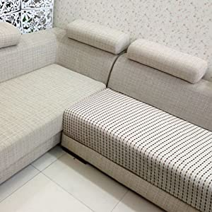 Home Just  好多家沙发垫 布艺时尚坐垫 秋冬沙发巾沙发套 清新方格 多色定做 (70*24