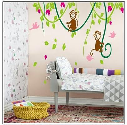 blansdi 绿树藤猴子花朵儿童房幼儿园墙贴