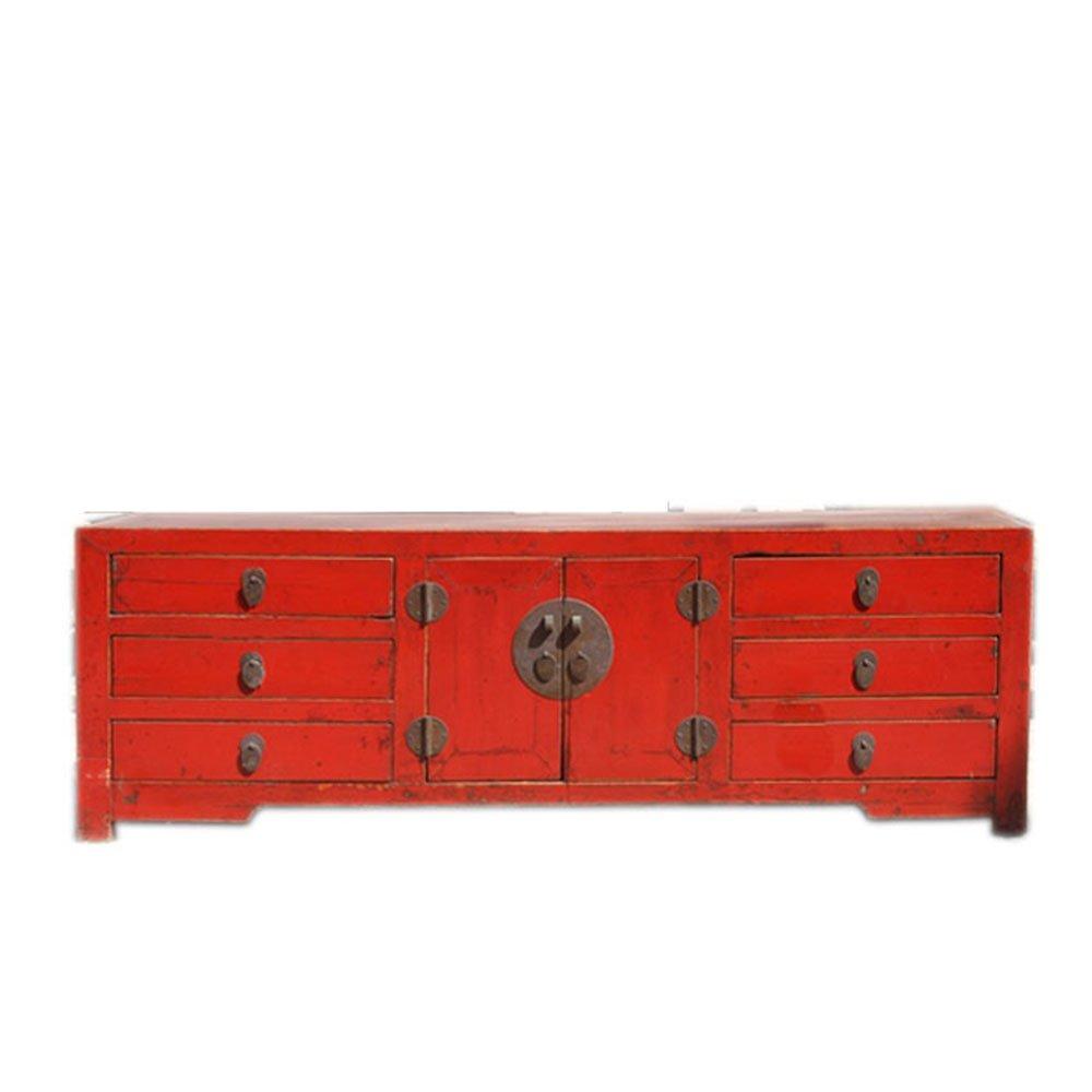 电视柜红色婚庆2门6屉客厅电视机柜子矮柜