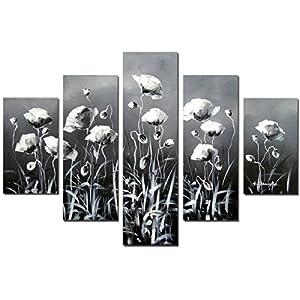 客厅沙发背景墙挂画纯手绘油画黑白色怀旧5