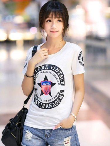 赫薇 短袖T恤女2014夏装新款女装韩版百搭印花打底衫上衣潮  GDN410989