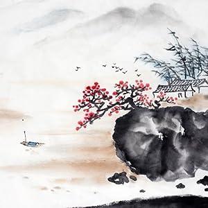 乐嘉 大型水墨画壁纸 一树梅花一放翁0682-1 电视床头