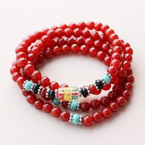晶隆福 天然红玛瑙多圈手链 颜色亮丽  款式时尚 增添魅力 辟邪护身 美容养颜-图片