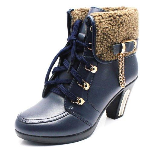 金狈狐 2013新款冬季真皮保暖女靴 欧美明星款时尚粗跟高跟女靴子 马丁靴 加棉内里短靴 661