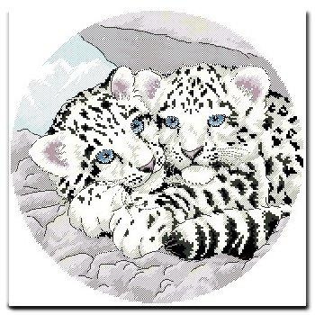 阿卡手工 十字绣动物 动物新款 雪豹母子