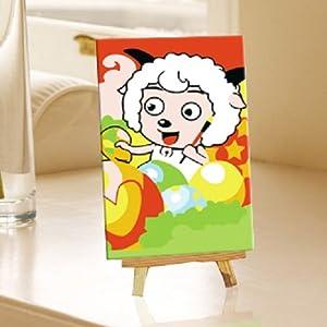 自油自画 数字油画diy手绘 儿童益智动漫卡通迷你画 喜羊羊 10*15