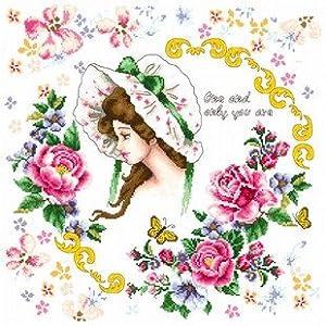 dmc 多美绣 大幅客厅卧室欧式卡通油画花环美少女 法国 十字绣 11ct 3