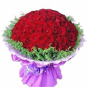 中礼鲜花速递 99朵红玫瑰鲜花 深圳鲜花速递生日鲜花花店送花上门送女友生日礼物,