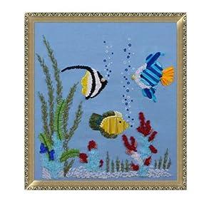 精巧 丝带绣 挂画 欧式 客厅 b0034 海底世界2