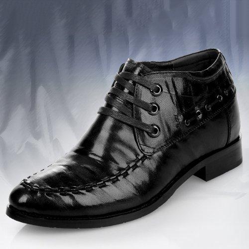 Gog 高哥 春秋季 内增高靴子男式韩版潮短靴马丁靴男士短皮靴子男靴真皮