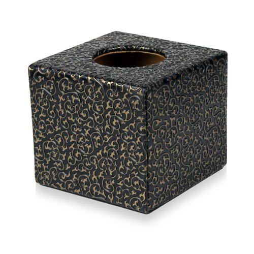 品地 黑底欧式风格可爱创意正方形圆筒纸纸巾盒 黑底金花
