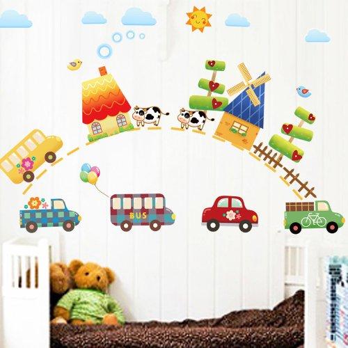 飞彩家饰卡通教室布置墙贴纸 卧室儿童房幼儿园装饰 阳光路上 (美国