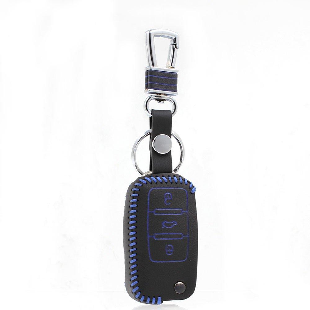 佑易 大众系列专用真皮遥控器皮套 朗逸 高尔夫 途观钥匙保护套 (蓝线