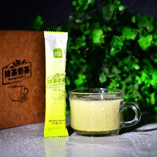 简品100 日式抹茶奶茶 经典抹茶奶茶 纯天然/速溶袋装/奶茶粉  15条/盒-图片