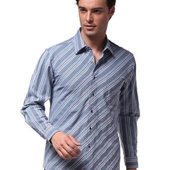 ... 蓝紫色条纹长袖衬衫32iD9001233价格(怎么样)_易购衬衫