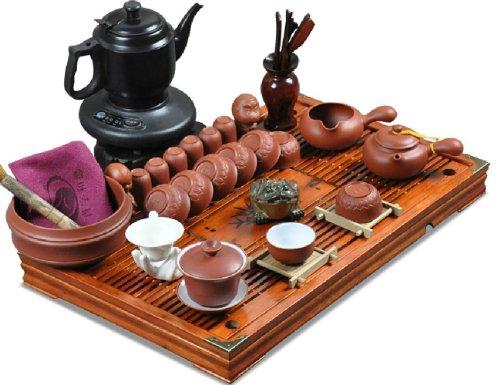 肖字和德 紫砂茶具套装 电丝炉套装 实木茶盘 2013新套装 整套功夫