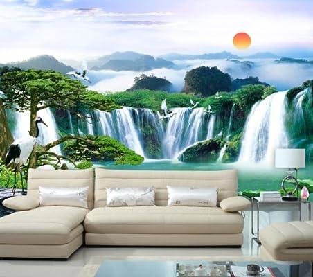 风景画 山水画大型壁画 迎客松 电视背景墙壁纸壁画 德国无纺布