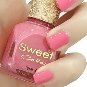 Sweet Color环保指甲油 糖果色漆光实色系列 优雅兰花 12ML 四瓶包邮送赠品