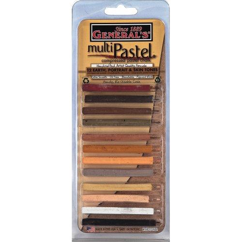 General Pencil Multi Pastel Compressed Chalk Sticks, 12-Pack