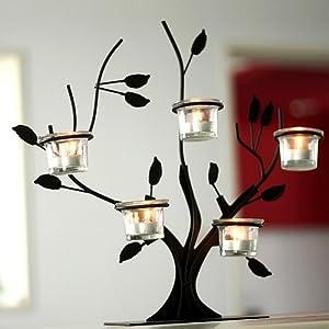 gentletimes 柔软时光 欧式酒吧餐厅摆件铁艺烛台 田园地中海树枝玻璃