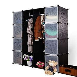 南辰 4层4列衣柜 成人衣橱 组合书柜 收纳柜 儿童衣柜 (黑花白花门)
