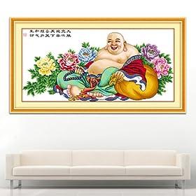 卖 笑口常开 大肚弥勒佛 大幅 客厅大画 1 纯棉布十字绣成品 弥勒佛1
