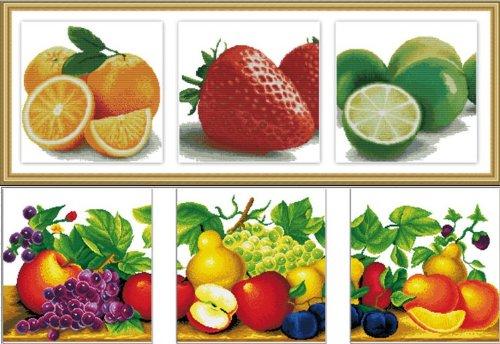 最新款 客厅餐厅 壁画三联画 十字绣 水果缤纷系列 水果图案 (144*50