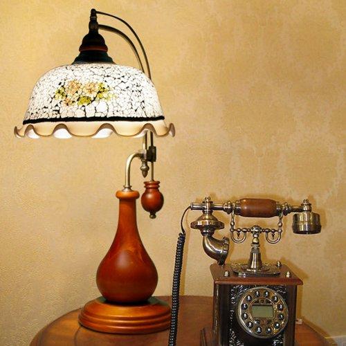 波西米亚 灯饰木质纯香地中海美式乡村台灯卧室床头老式灯具9863图片图片