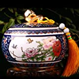 Snowwolf 雪狼 景泰蓝茶叶罐 如意 陶瓷 国色天香 茶道 瓷茶罐 茶罐 TD-图片