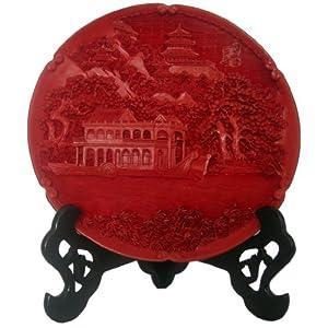 漆格格 北京特色漆雕工艺品10寸石舫盘 地方特色礼品