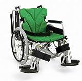 日本河村轮椅KKA800-22自走系列 高端舒适 高度可调 踏脚可拆 靠背可折叠 (坐宽40  坐高43, 清新绿NO87)-图片