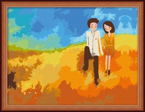 佳彩天颜 diy手绘数字油画费客厅人物情侣抽象装饰画听风的歌 听风的