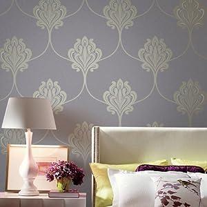 爱朵 硅藻泥去除甲醛墙纸 欧式大马士革花卉客厅卧室书房整铺壁纸