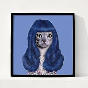 卧室创意挂画有框画卡通个性复古海报 (黑色画框图案12, 23厘米x23