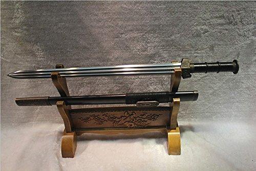 龙泉刀剑 中国汉代古剑 百炼花纹钢双槽汉剑 黑檀木鞘材 71厘米 收藏