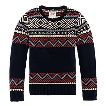 nop 男士 新款 针织衫 复古手织风格提花毛衫图片