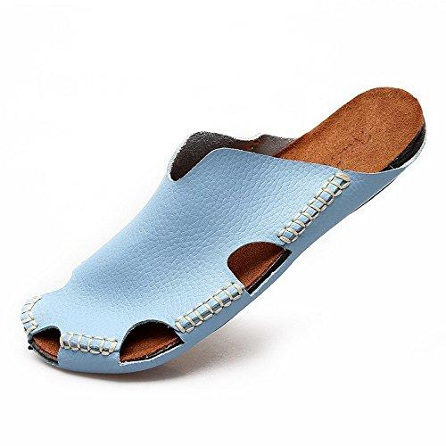 夏季 时尚情侣半拖真皮休闲女式拖鞋经典韩版英伦男女半拖透气潮鞋平底鞋