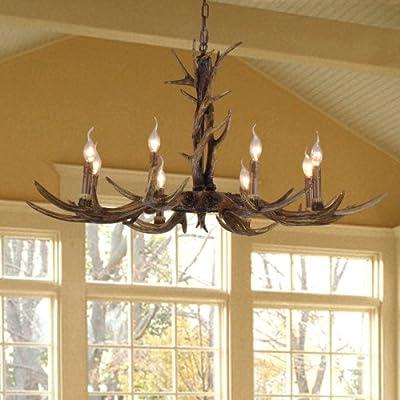 欧式八头吊灯树脂美式乡村创意别墅卧室客厅麋鹿角灯