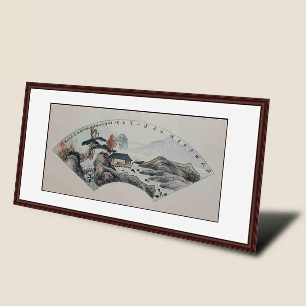 锦翰堂 寿平 国画山水扇形《清风明月本无价》装饰挂画 sx20121115