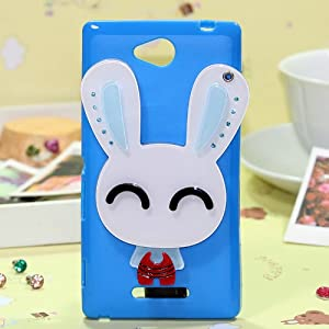索尼s39h手机壳 索尼s39h手机皮套 保护套外壳卡通萌 (蓝色咪眼兔)