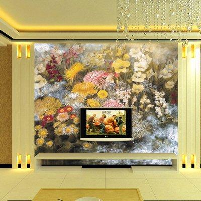 塞拉维 欧式简修风格|油画花卉电视沙发背景墙|客厅大型笔画壁纸 德国