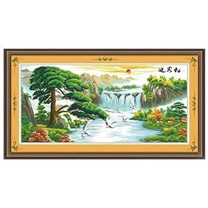 华庭丽娜 印花十字绣 迎客松 鹤寿延年 精准印花不偏格 100 印布手工绣图片