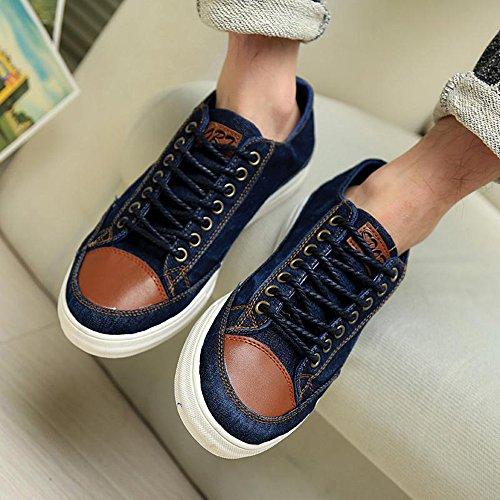 春秋低帮男款帆布鞋韩版潮休闲鞋子系带牛仔水洗布鞋学生鞋