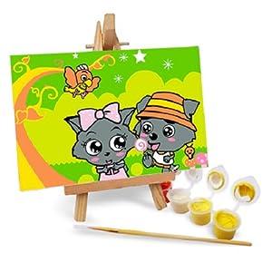 自油自画 数字油画diy手绘卡通情侣儿童迷你画 小灰灰