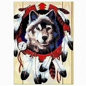 diy手绘数字油画 30*40      动物      餐厅; 星空雨夜 狼图腾  手绘