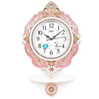 康巴丝(compas)挂钟 欧式创意表静音 摇摆时尚客厅石英钟2899粉色