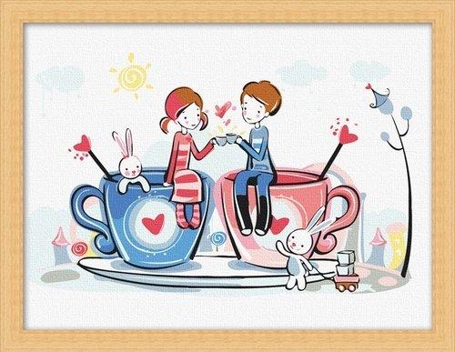 佳彩天颜 diy手绘数字油画 客厅人物情侣卡通装饰画 恋爱咖啡 恋爱