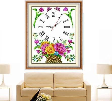 珍宝 蒙娜丽莎十字绣 新款钟表系列 客厅卧室小挂画 繁花似锦玫瑰花篮