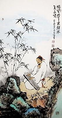 宣澄艺购 李春暖 独坐幽篁里(竖幅) 三尺竖幅 国画人物画作品 人物画图片