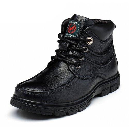 FGN 富贵鸟 新款 冬季 真皮 棉鞋 保暖 男鞋 休闲 皮靴 高帮 潮流 雪地靴 男靴